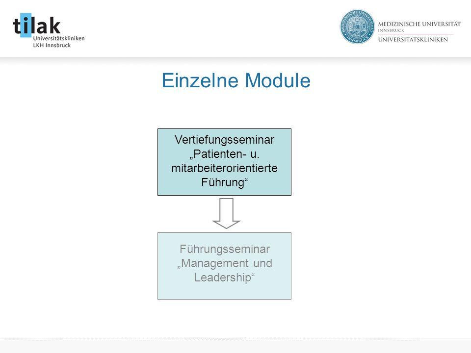 """Einzelne Module Vertiefungsseminar """"Patienten- u."""
