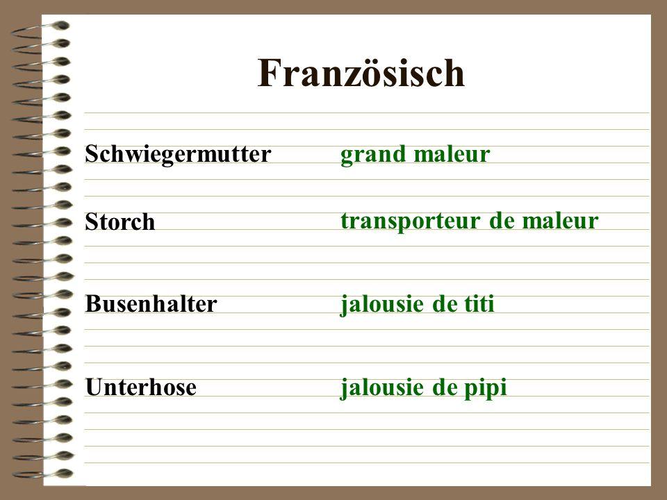 Französisch Schwiegermutter grand maleur Storch transporteur de maleur