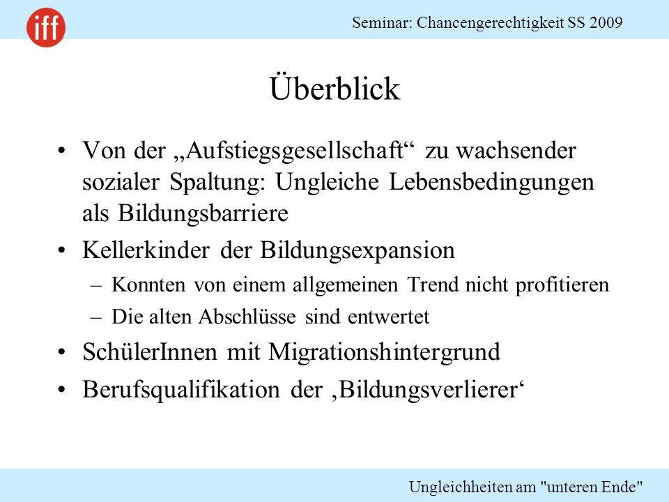 """Überblick Von der """"Aufstiegsgesellschaft zu wachsender sozialer Spaltung: Ungleiche Lebensbedingungen als Bildungsbarriere."""