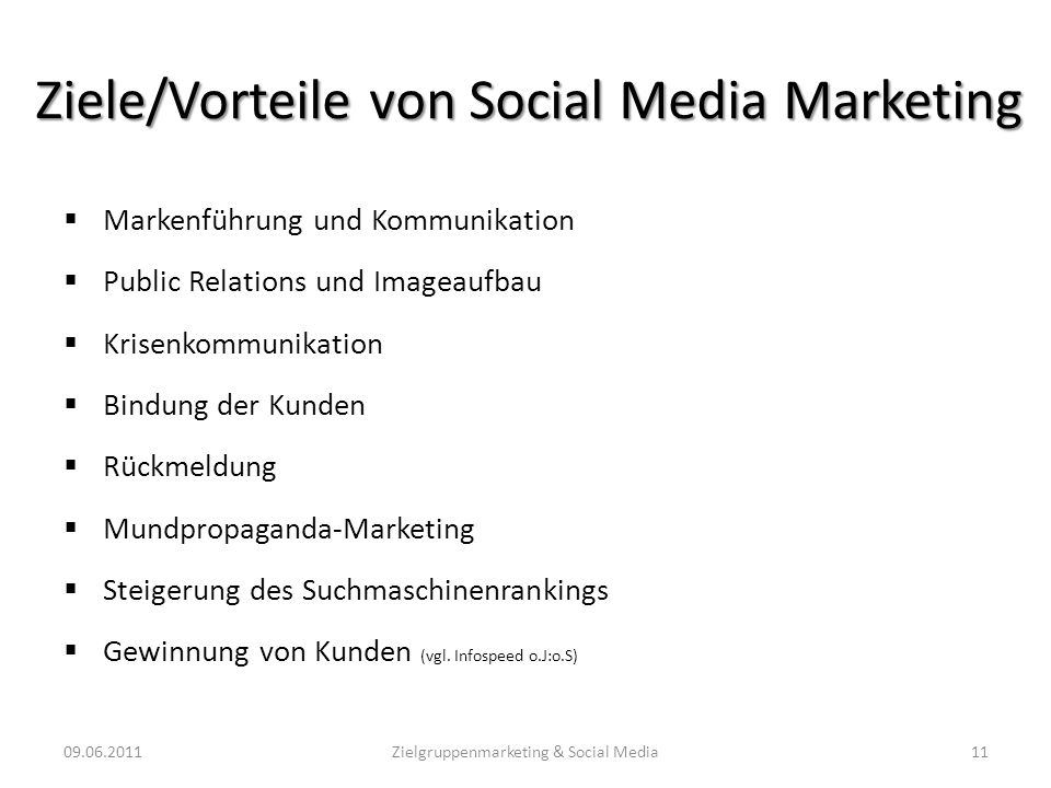 Ziele/Vorteile von Social Media Marketing