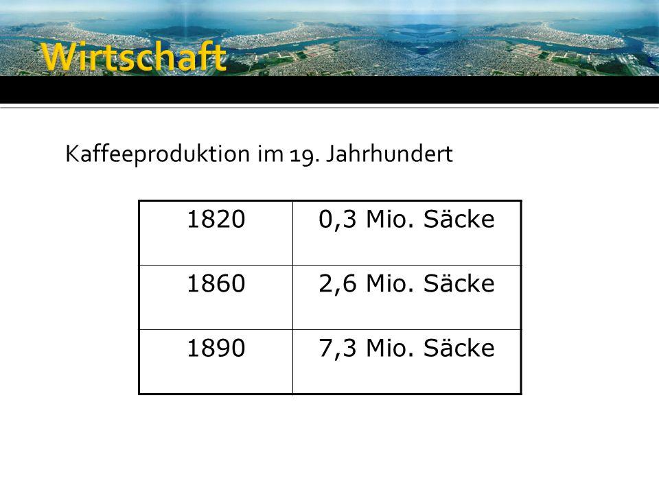 Wirtschaft Kaffeeproduktion im 19. Jahrhundert 1820 0,3 Mio. Säcke