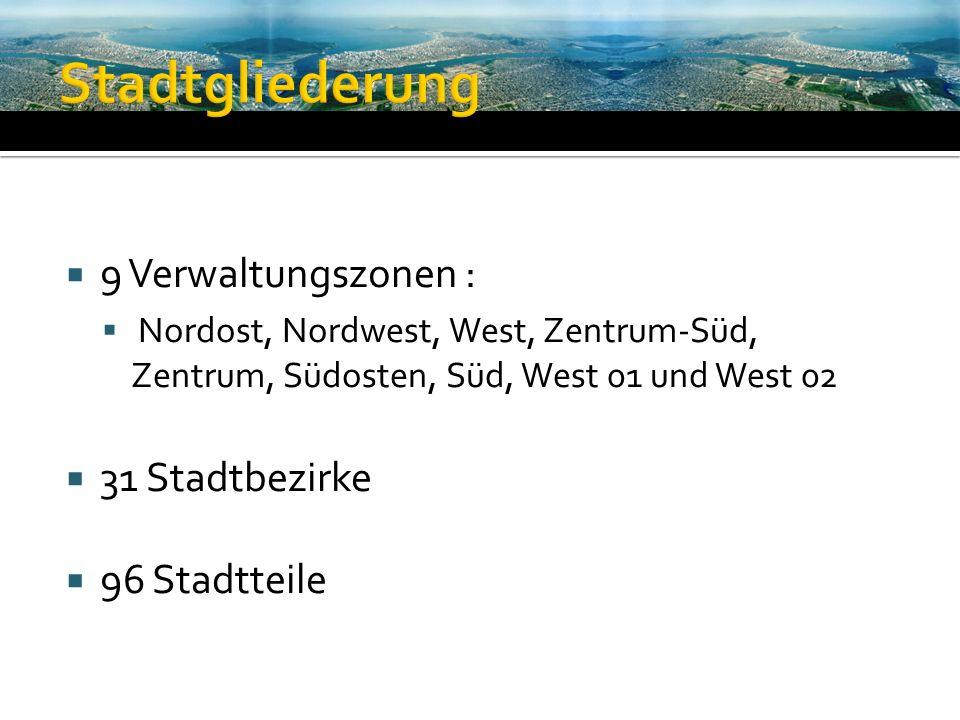 Stadtgliederung 9 Verwaltungszonen : 31 Stadtbezirke 96 Stadtteile