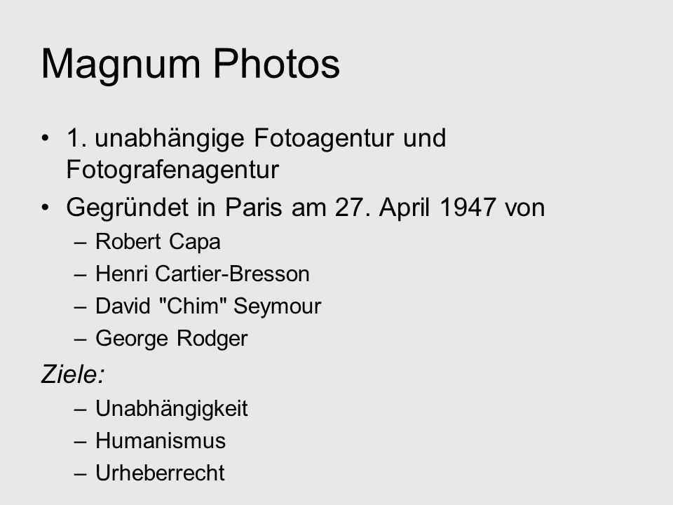 Magnum Photos 1. unabhängige Fotoagentur und Fotografenagentur