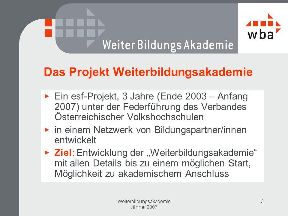Das Projekt Weiterbildungsakademie
