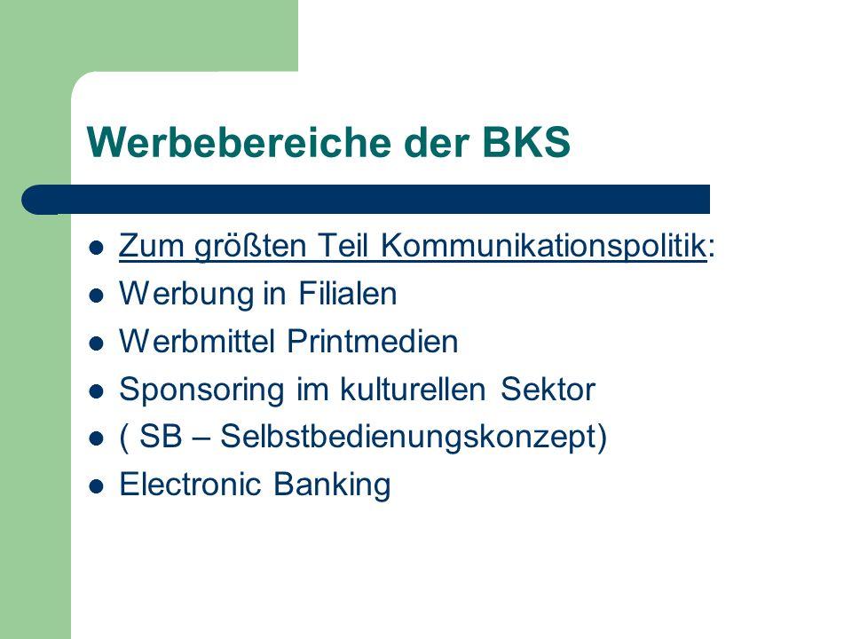 Werbebereiche der BKS Zum größten Teil Kommunikationspolitik: