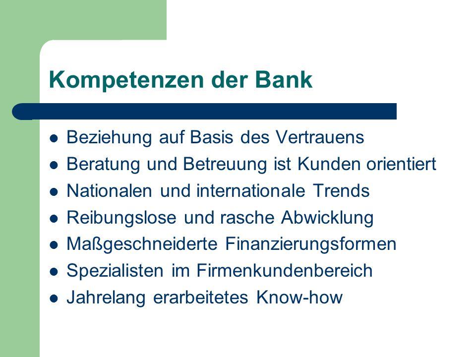 Kompetenzen der Bank Beziehung auf Basis des Vertrauens