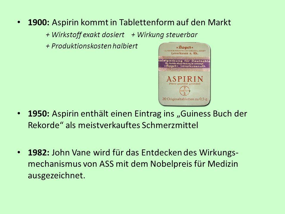 1900: Aspirin kommt in Tablettenform auf den Markt