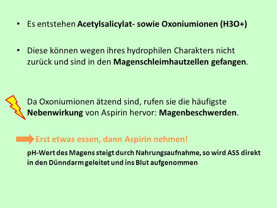 Es entstehen Acetylsalicylat- sowie Oxoniumionen (H3O+)