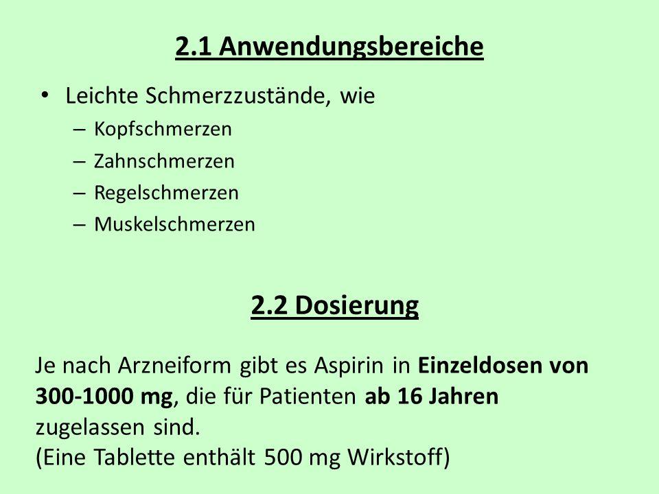 2.1 Anwendungsbereiche 2.2 Dosierung