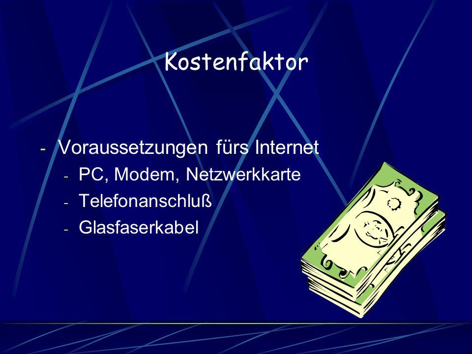 Kostenfaktor Voraussetzungen fürs Internet PC, Modem, Netzwerkkarte