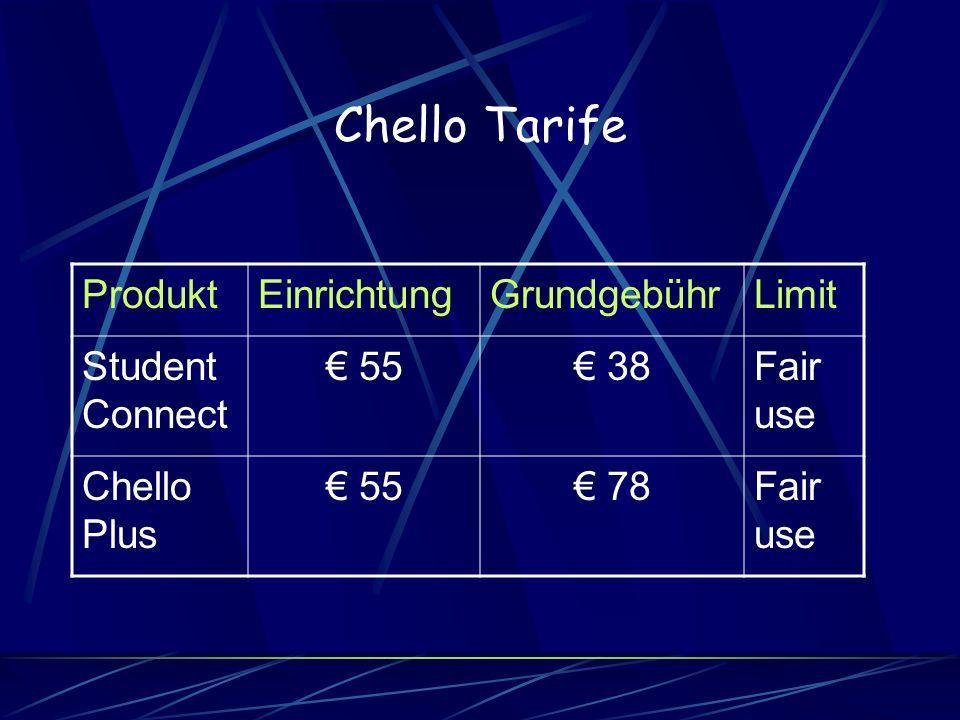 Chello Tarife Produkt Einrichtung Grundgebühr Limit Student Connect