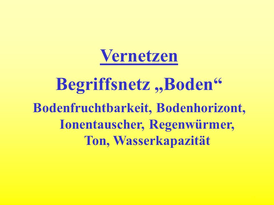"""Vernetzen Begriffsnetz """"Boden"""