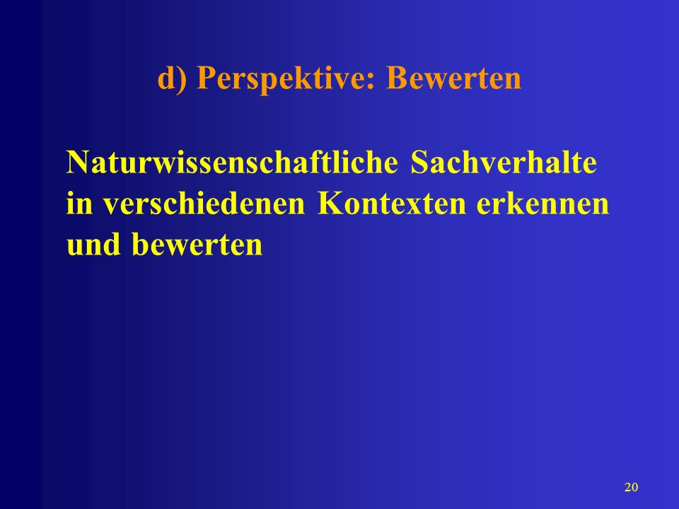 d) Perspektive: Bewerten