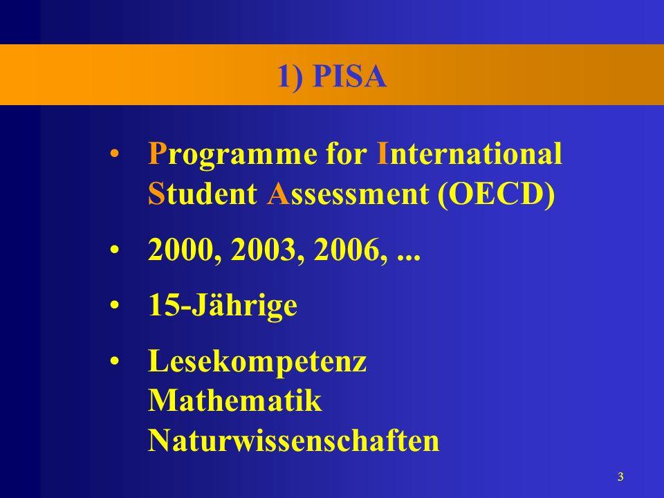 1) PISA Programme for International Student Assessment (OECD) 2000, 2003, 2006, ...
