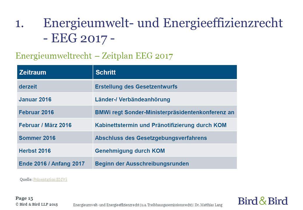 1. Energieumwelt- und Energieeffizienzrecht - EEG 2017 -