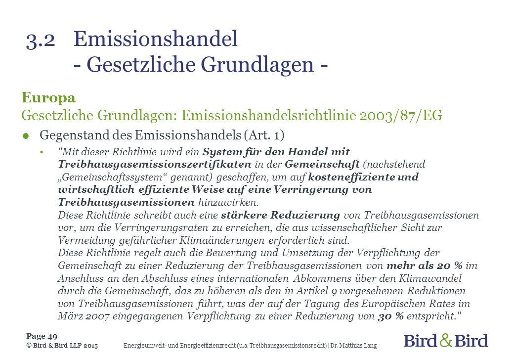 3.2 Emissionshandel - Gesetzliche Grundlagen -