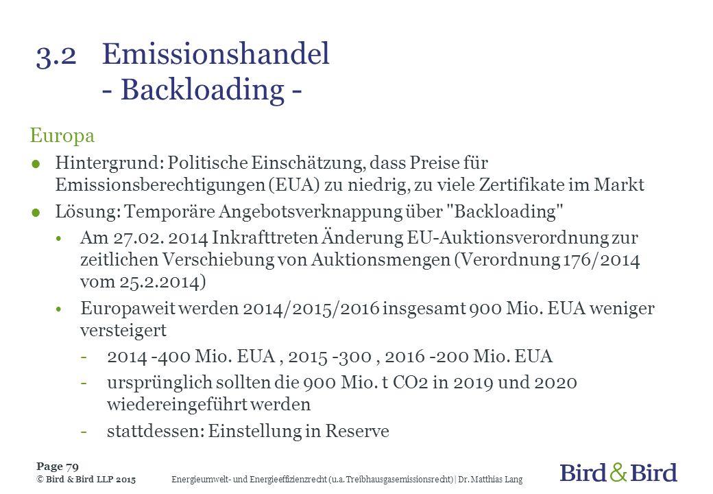 3.2 Emissionshandel - Backloading -