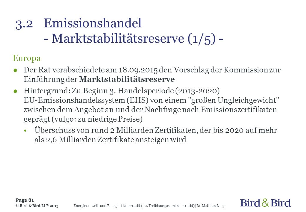 3.2 Emissionshandel - Marktstabilitätsreserve (1/5) -