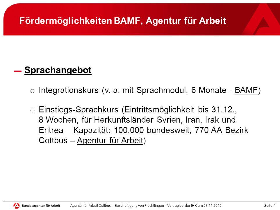 Fördermöglichkeiten BAMF, Agentur für Arbeit