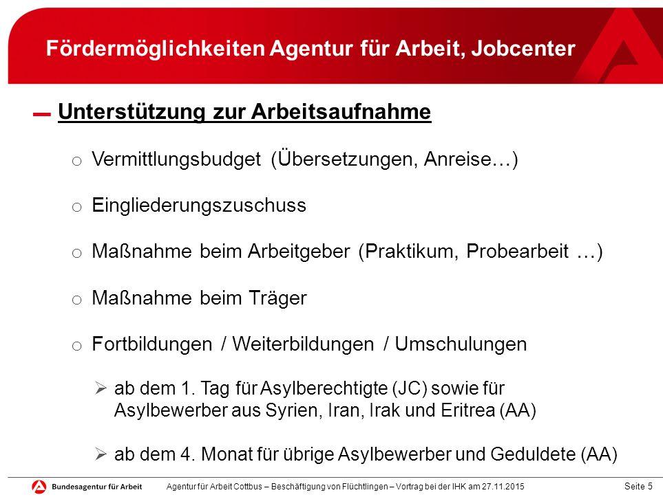 Fördermöglichkeiten Agentur für Arbeit, Jobcenter