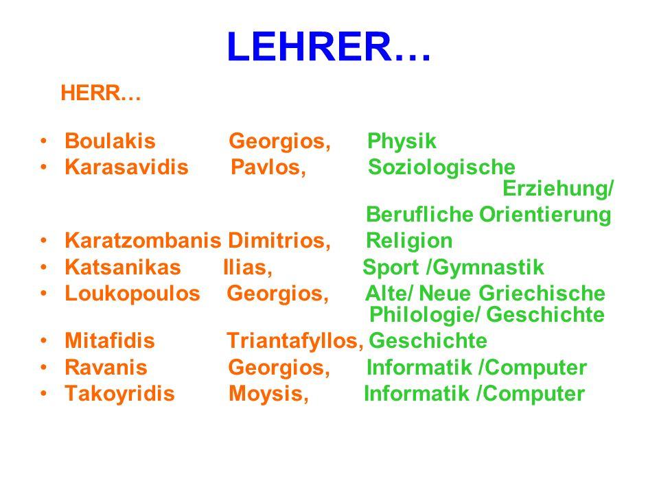 LEHRER… Boulakis Georgios, Physik