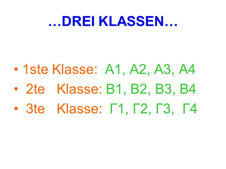 …DREI KLASSEN… 1ste Klasse: A1, A2, A3, A4. 2te Klasse: B1, B2, B3, B4.