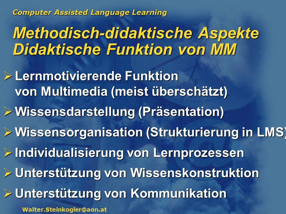 Methodisch-didaktische Aspekte Didaktische Funktion von MM