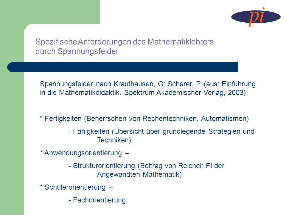 Spezifische Anforderungen des Mathematiklehrers durch Spannungsfelder