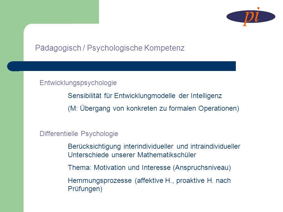Pädagogisch / Psychologische Kompetenz