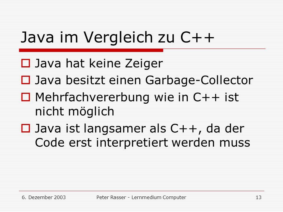 Java im Vergleich zu C++