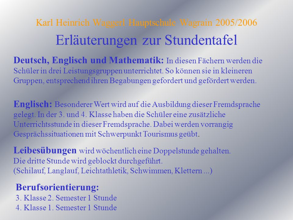 Karl Heinrich Waggerl Hauptschule Wagrain 2005/2006