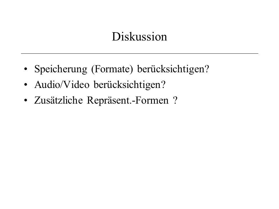 Diskussion Speicherung (Formate) berücksichtigen