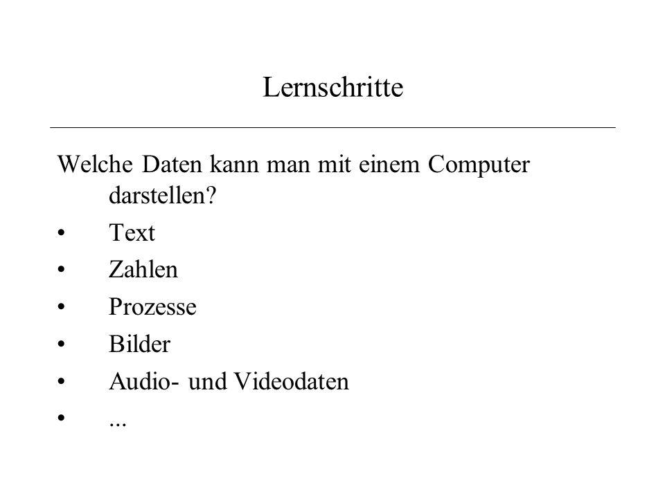 Lernschritte Welche Daten kann man mit einem Computer darstellen Text