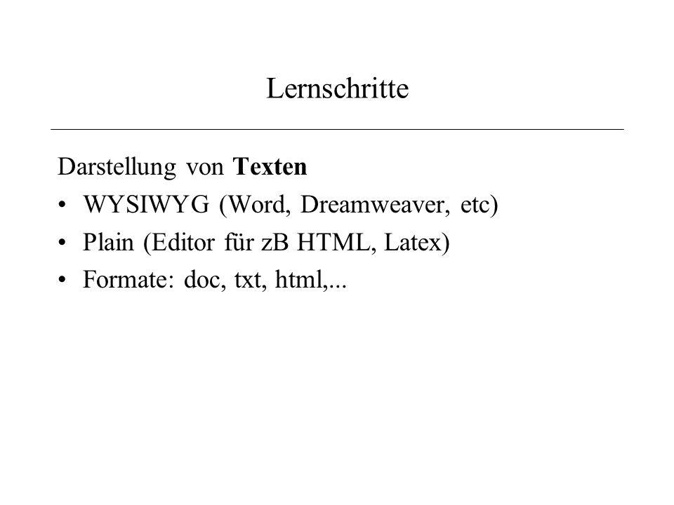 Lernschritte Darstellung von Texten WYSIWYG (Word, Dreamweaver, etc)
