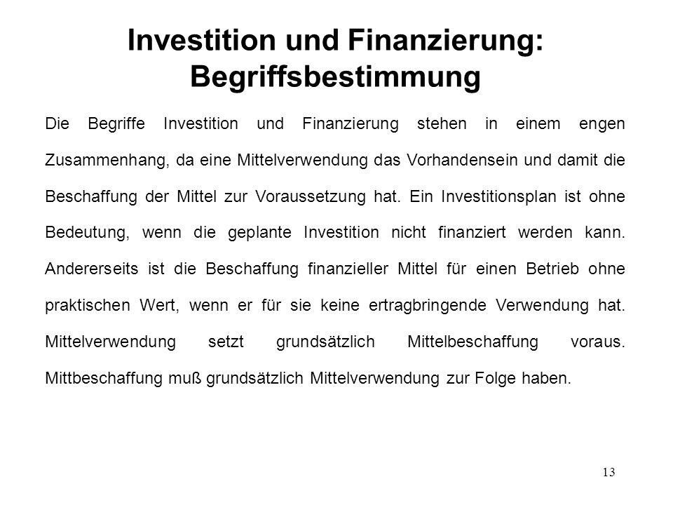 Investition und Finanzierung: