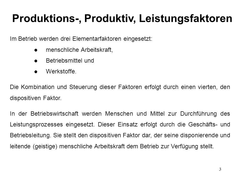 Produktions-, Produktiv, Leistungsfaktoren