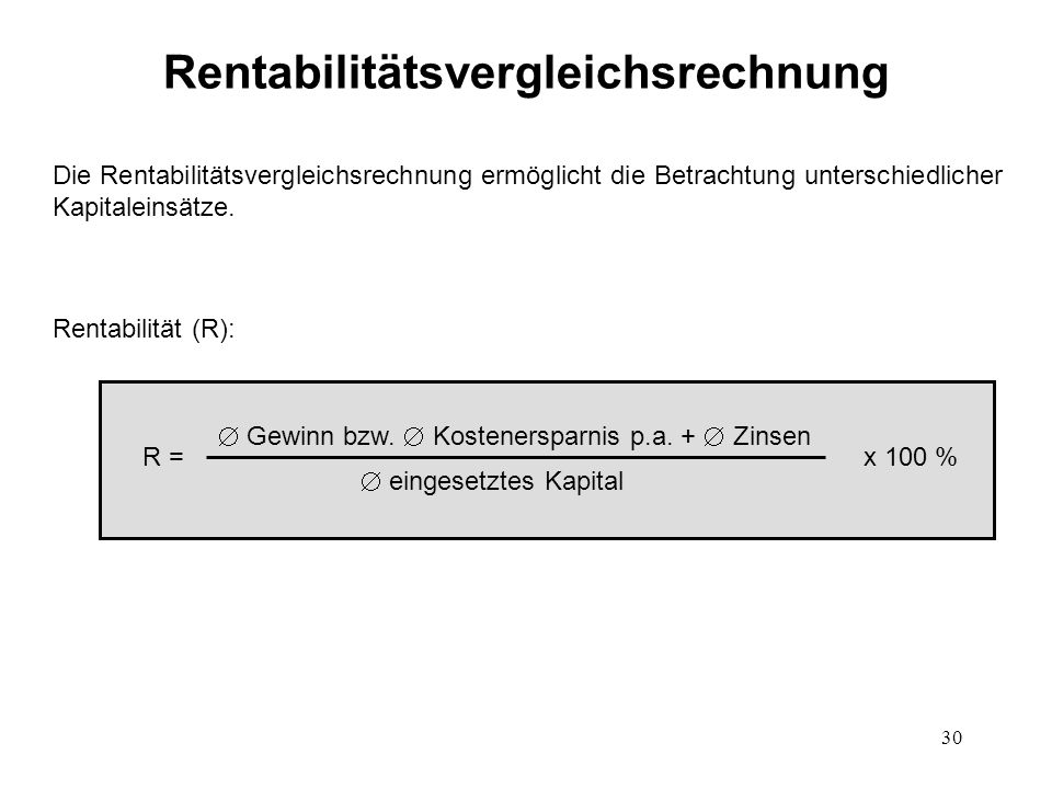 Rentabilitätsvergleichsrechnung