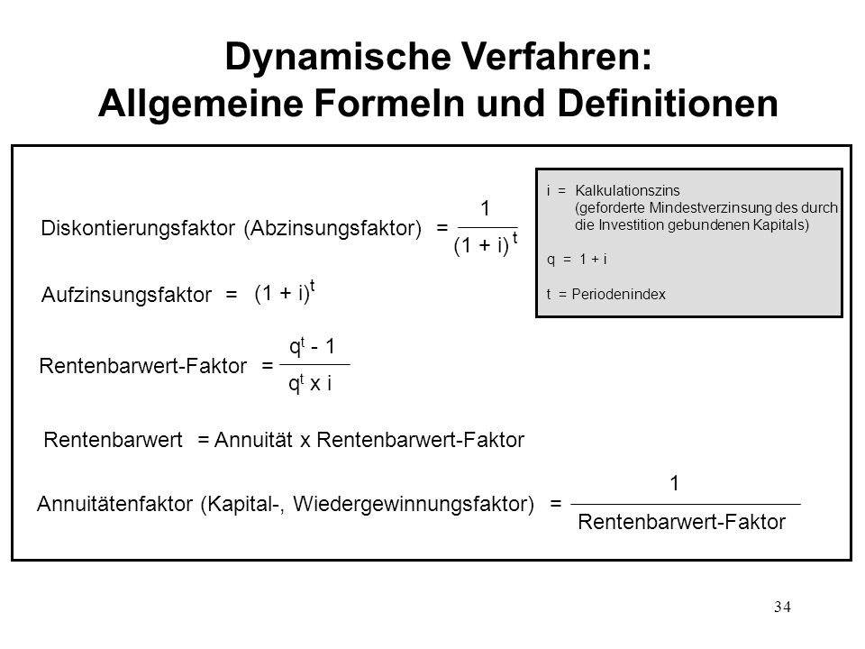 Dynamische Verfahren: Allgemeine Formeln und Definitionen