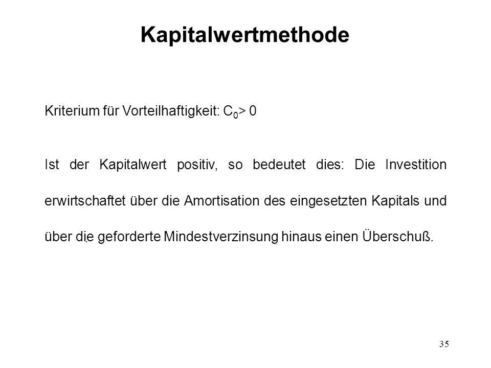 Kapitalwertmethode Kriterium für Vorteilhaftigkeit: C0> 0