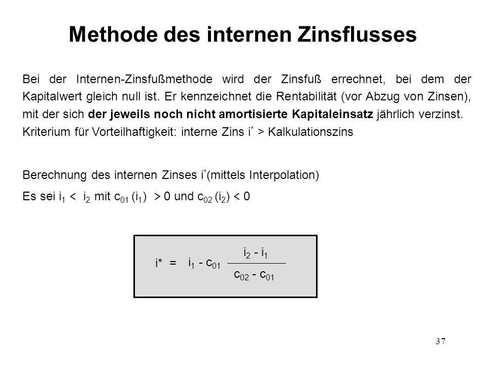 Methode des internen Zinsflusses