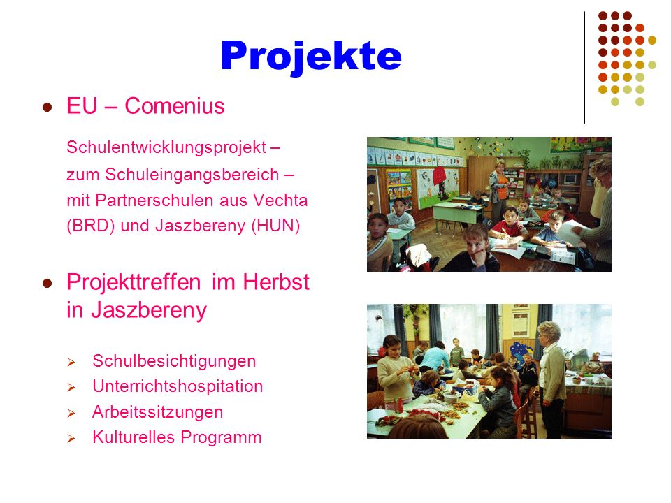 Projekte Schulentwicklungsprojekt – EU – Comenius