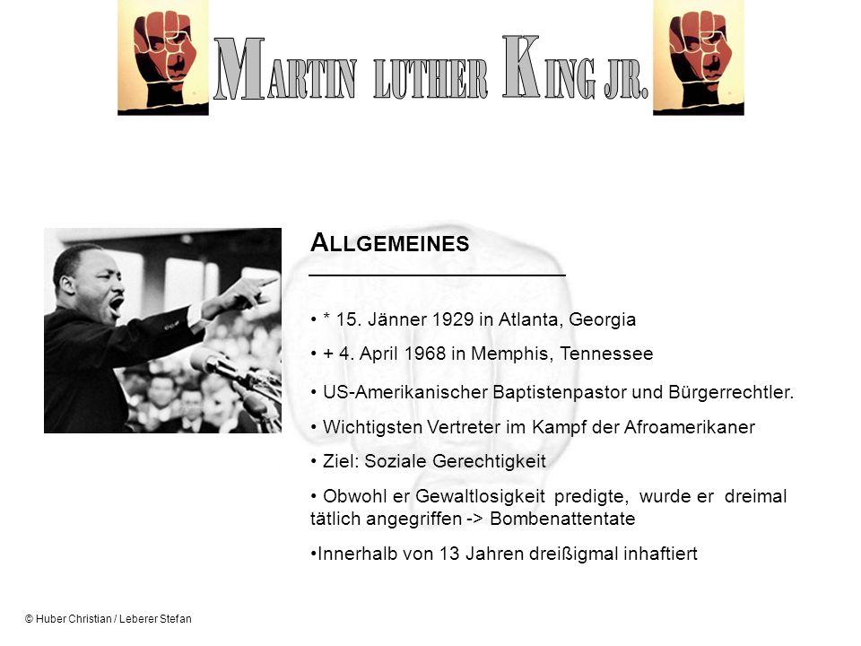 M K ARTIN LUTHER ING JR. ALLGEMEINES