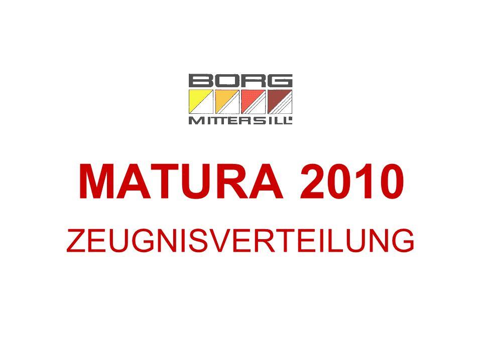 MATURA 2010 ZEUGNISVERTEILUNG
