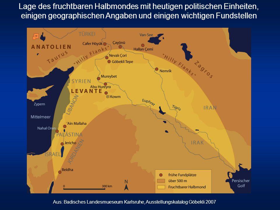 Lage des fruchtbaren Halbmondes mit heutigen politischen Einheiten, einigen geographischen Angaben und einigen wichtigen Fundstellen