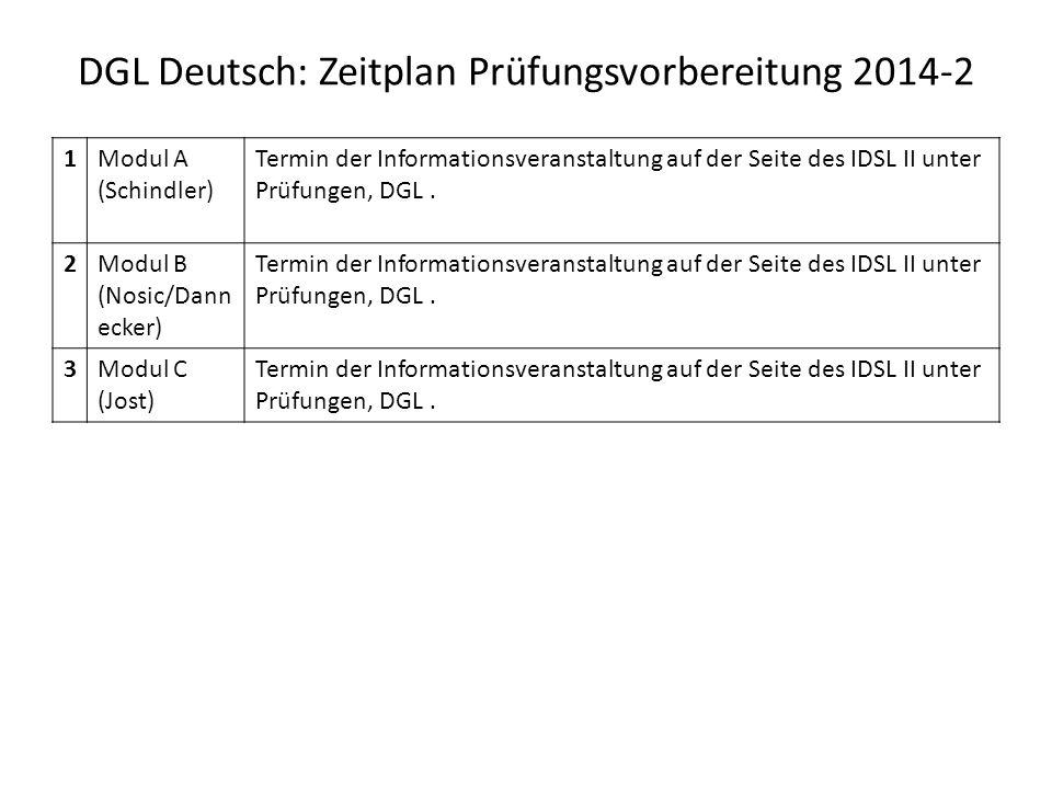 DGL Deutsch: Zeitplan Prüfungsvorbereitung 2014-2