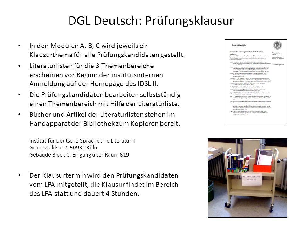 DGL Deutsch: Prüfungsklausur