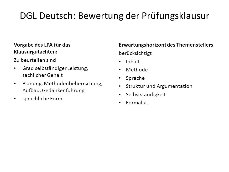 DGL Deutsch: Bewertung der Prüfungsklausur