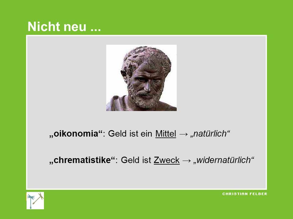"""Nicht neu ... """"oikonomia : Geld ist ein Mittel → """"natürlich"""