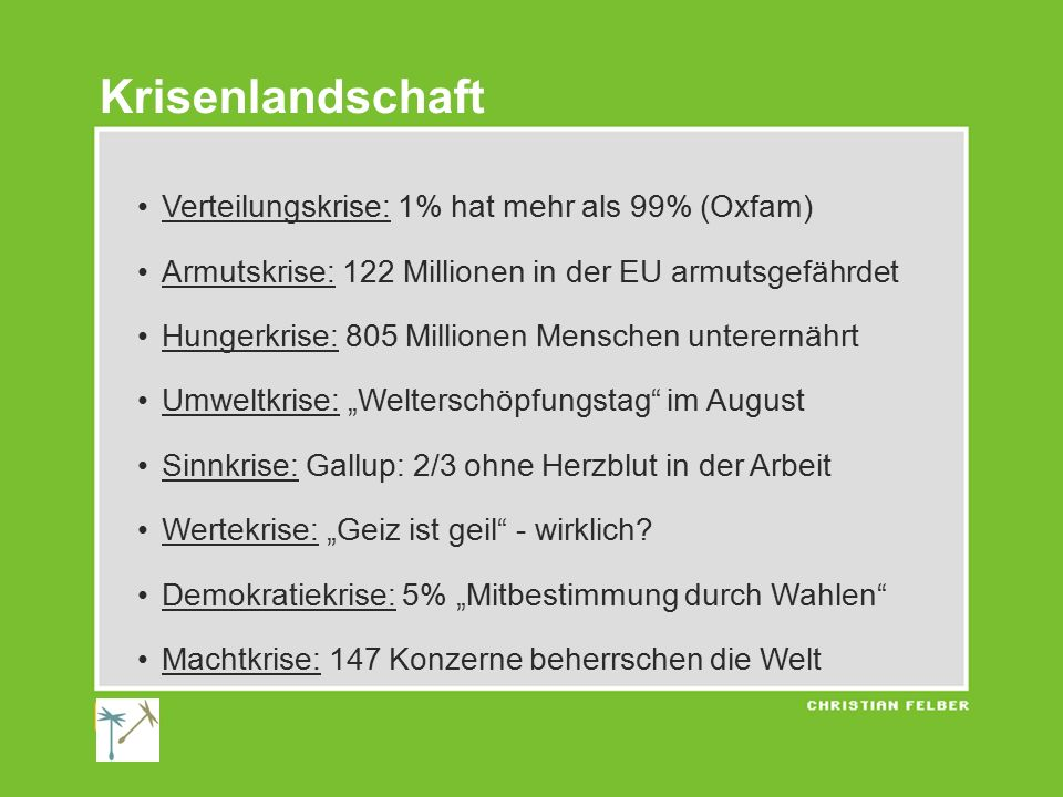 Krisenlandschaft Verteilungskrise: 1% hat mehr als 99% (Oxfam)