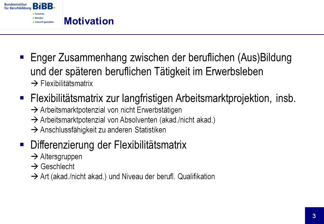Motivation Enger Zusammenhang zwischen der beruflichen (Aus)Bildung und der späteren beruflichen Tätigkeit im Erwerbsleben  Flexibilitätsmatrix.